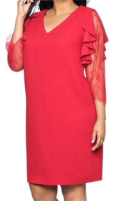 Item - Red Lace Sleeve Shift Mid-length Cocktail Dress Size 24 (Plus 2x)