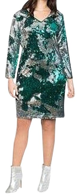 Item - Silver/Teal Long Sleeve Sequin Sheath Mid-length Cocktail Dress Size 22 (Plus 2x)