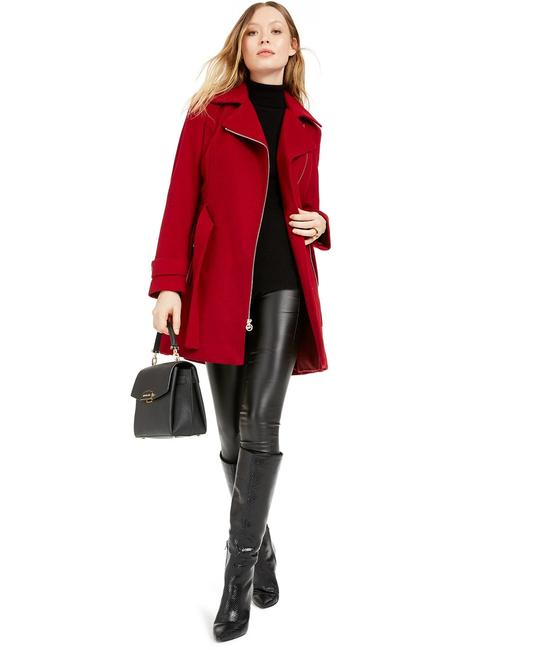 Item - Red Asymmetrical Belted Coat Size Petite 12 (L)