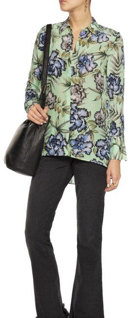 Item - Green Floral And Comfort Shirt Button-down Top Size 4 (S)