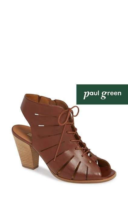 Item - Brown Cosmo Peep Toe Lace-up Bootie Leather Sandals Size US 7 Regular (M, B)