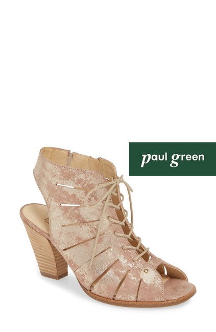 Item - Brown Cosmo Peep Toe Lace-up Bootie Blush Metallic Leather Sandals Size US 7 Regular (M, B)