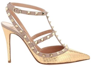 Valentino Studded Rockstud Strappy Snake Gold/Nude Sandals