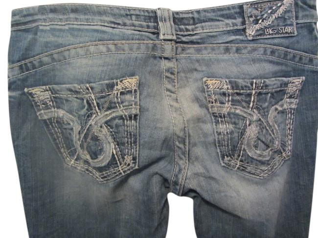 Item - Blue Denim Distressed Sweet Extra Low Rise Boot Cut Jeans Size 28 (4, S)