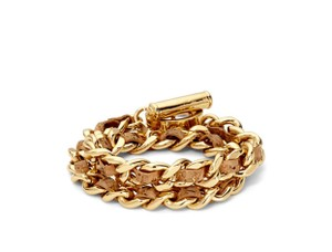 C. Wonder double wrap tan leather and gold plated chain bracelet