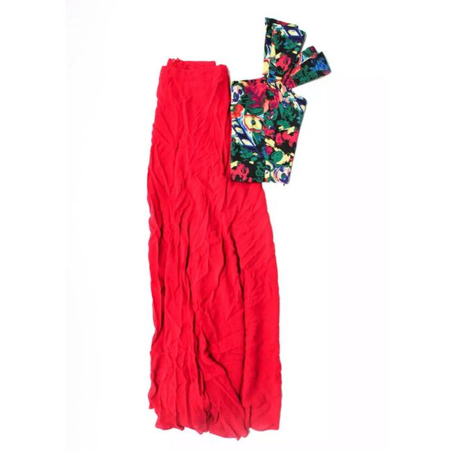 Item - Red Floral Two Piece Crop and Skirt Long Casual Maxi Dress Size 2 (XS)