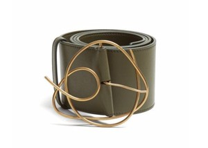 Roksanda Roksanda Olive Green Leather Gold Twisted Abstract Buckle Belt