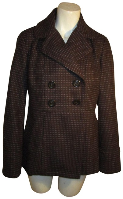 Item - Brown Multi Wool Blend Double Breasted Coat Size 4 (S)