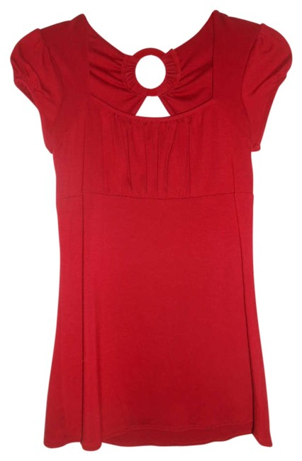 Vol. 7 Back Detailing Soft Knit Cute Top Red