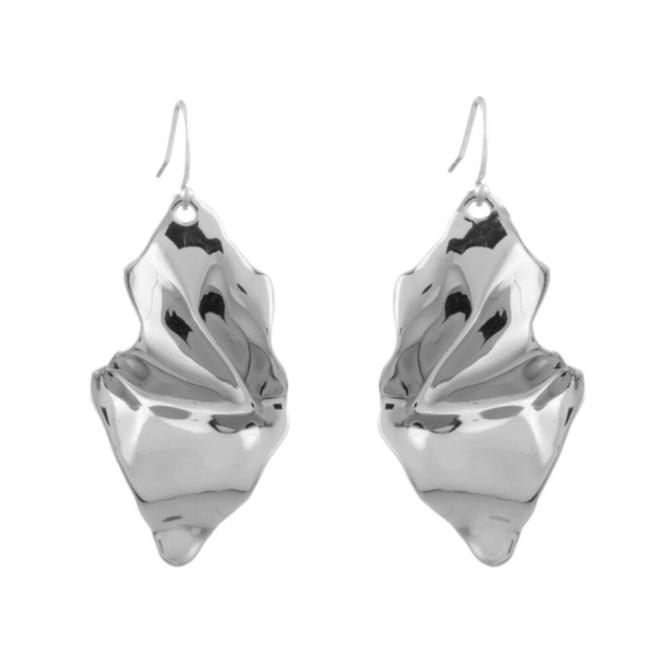 Item - Silver Crumpled Wire Earrings