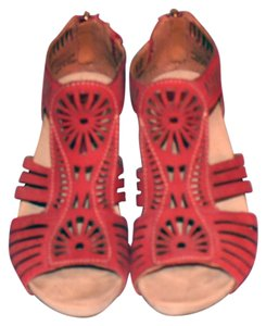 Earthies Rust Platform Wedge Suede rusty red Wedges
