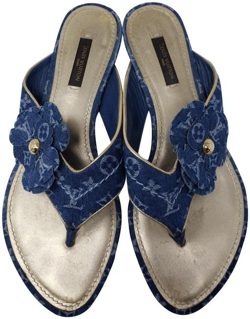 Item - Blue Lv Monogram Denim Round-toe Sandals Size EU 38 (Approx. US 8) Regular (M, B)