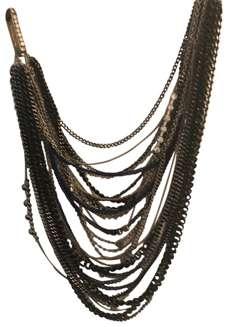 Item - Black Silver Gold Blue Neon Yellow Chain Necklace