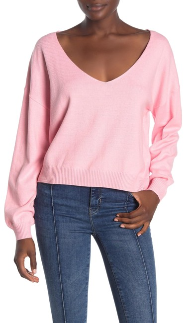 Item - Wide V-neck Pink Sweater