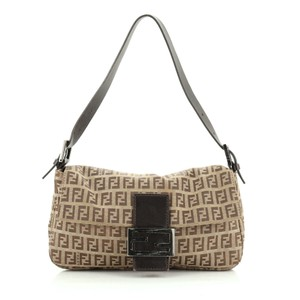 Fendi Canvas Baguette Satchel in Brown
