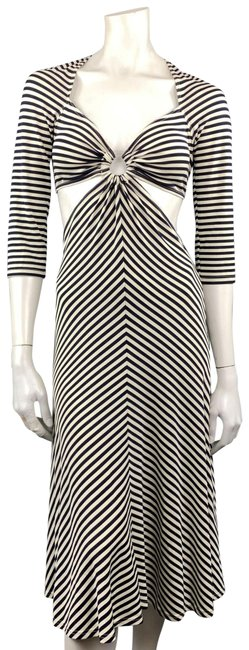 Item - Navy & White Striped Cutout Hoop Mid-length Short Casual Dress Size 10 (M)
