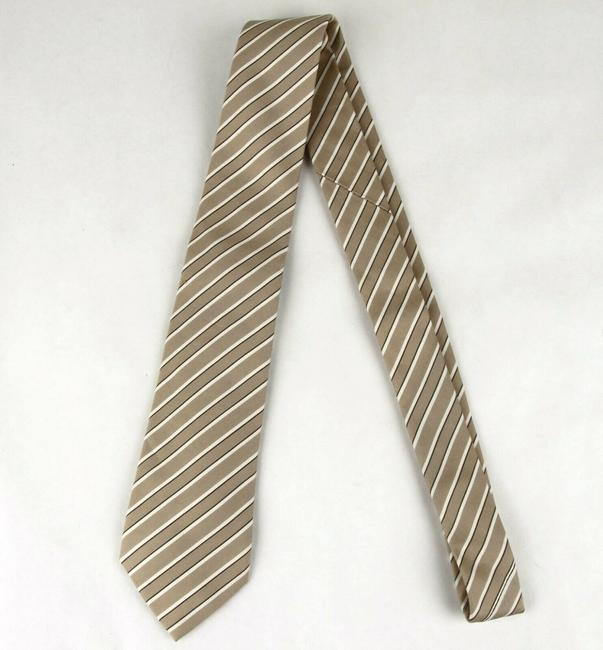 Gucci Beige Men's Cotton/Silk with White and Brown Stripes 336398 9677 Tie/Bowtie Gucci Beige Men's Cotton/Silk with White and Brown Stripes 336398 9677 Tie/Bowtie Image 3
