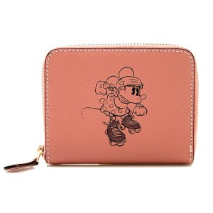 Coach COACH x DISNEY Zip Around Wallet with Minnie Mouse Motif in Pink