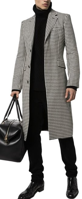 Item - Men's Black & White Houndstooth Single-breasted ( Men ) Coat Size 8 (M)