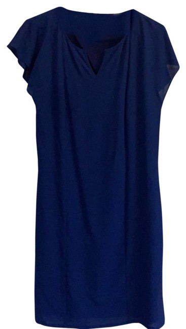 Vince Camuto Royal Blue Sheer Overlay with Tie Waist Mid-length Work/Office Dress Size 4 (S) Vince Camuto Royal Blue Sheer Overlay with Tie Waist Mid-length Work/Office Dress Size 4 (S) Image 1