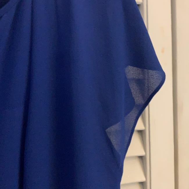 Vince Camuto Royal Blue Sheer Overlay with Tie Waist Mid-length Work/Office Dress Size 4 (S) Vince Camuto Royal Blue Sheer Overlay with Tie Waist Mid-length Work/Office Dress Size 4 (S) Image 2