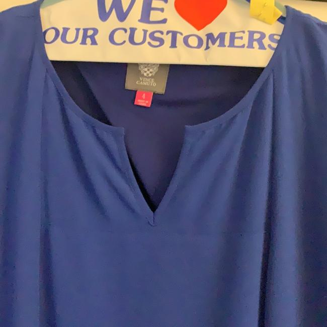 Vince Camuto Royal Blue Sheer Overlay with Tie Waist Mid-length Work/Office Dress Size 4 (S) Vince Camuto Royal Blue Sheer Overlay with Tie Waist Mid-length Work/Office Dress Size 4 (S) Image 3