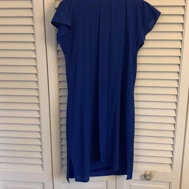Vince Camuto Royal Blue Sheer Overlay with Tie Waist Mid-length Work/Office Dress Size 4 (S) Vince Camuto Royal Blue Sheer Overlay with Tie Waist Mid-length Work/Office Dress Size 4 (S) Image 6