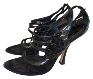 Dior Christian Patent Leather Black Sandals