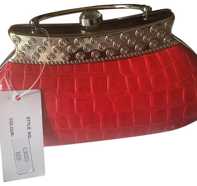 Item - Snake Skin Red and Silver Clutch