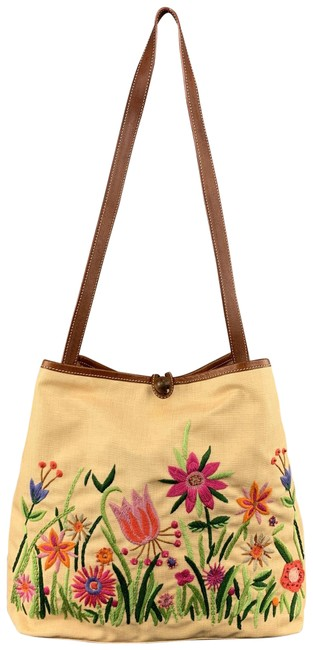 Item - Embroidered Beige Canvas Shoulder Bag