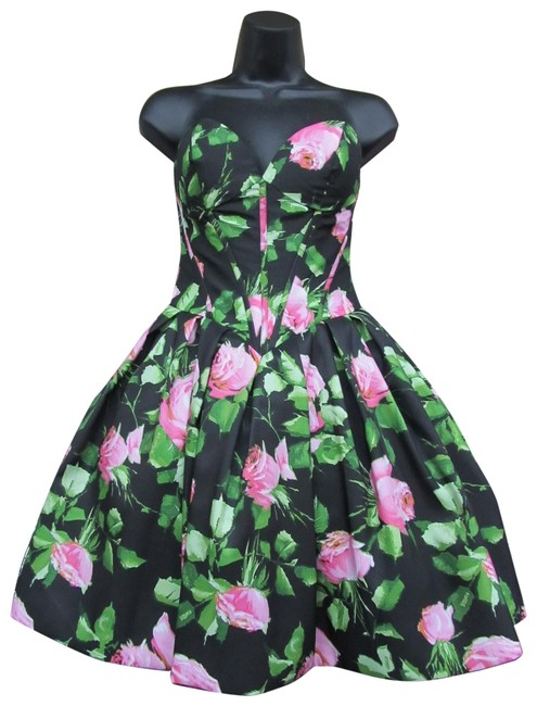 Item - Black/ Pink Print 50146/ Short Formal Dress Size 0 (XS)