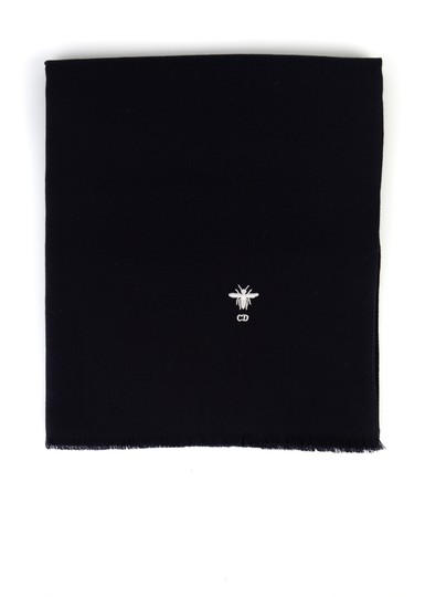 Dior Dior Womens Navy 100% Wool Bee Logo Stole Scarf Image 2