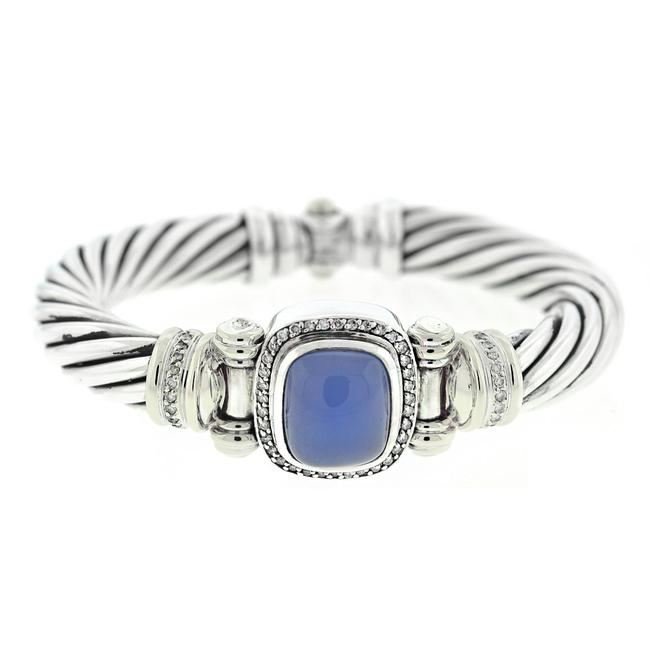 Item - Blue 18k Yellow Gold Sterling Silver Chalcedony Diamond Cable Bracelet