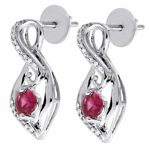 Jewelry For Less Diamond Infinity Earrings .925 Sterling Silver Created Ruby 0.96CT.