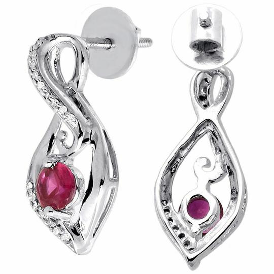 Jewelry For Less Diamond Infinity Earrings .925 Sterling Silver Created Ruby 0.96CT. Image 1