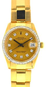 rolex Rolex 6827 Midsize 31mm Date 18k Gold Diamond Dial & Bezel Watch