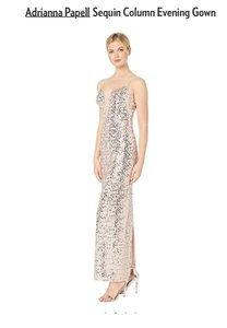 Adrianna Papell Sequin Gown Evening Champagne Dress