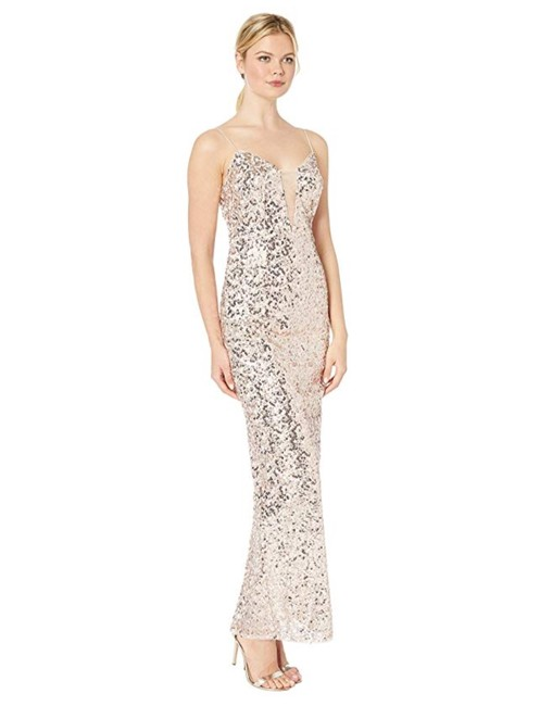 Adrianna Papell Sequin Gown Evening Champagne Dress Image 1
