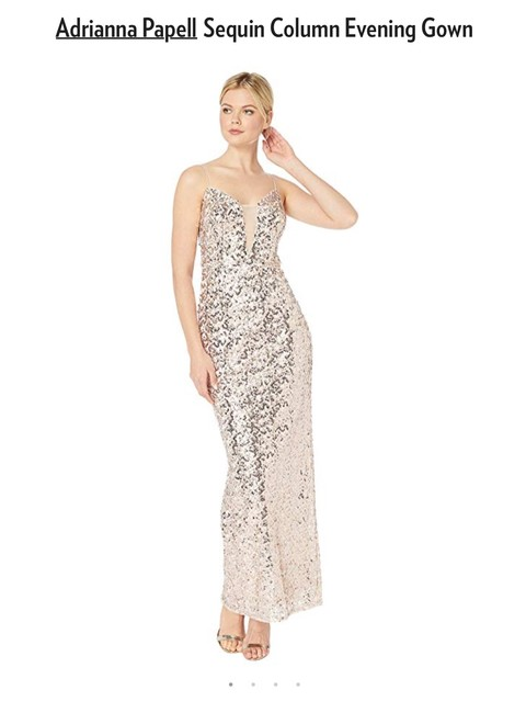 Adrianna Papell Sequin Gown Evening Champagne Dress Image 2
