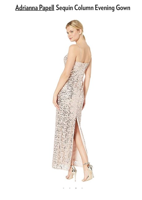 Adrianna Papell Sequin Gown Evening Champagne Dress Image 3