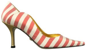 Nicole Miller Striped Satin New With Box Red & White Pumps