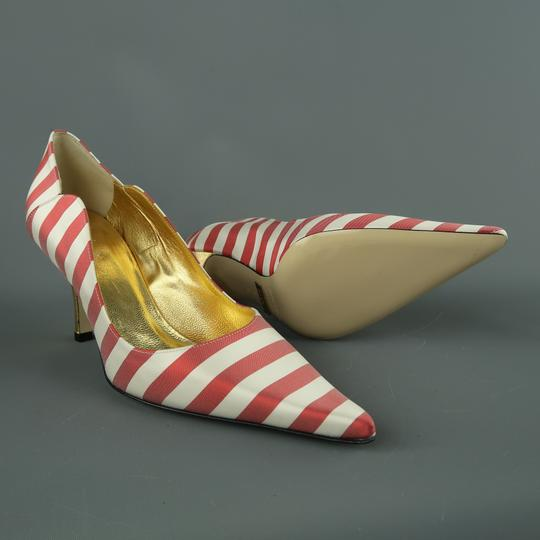 Nicole Miller Striped Satin New With Box Red & White Pumps Image 1