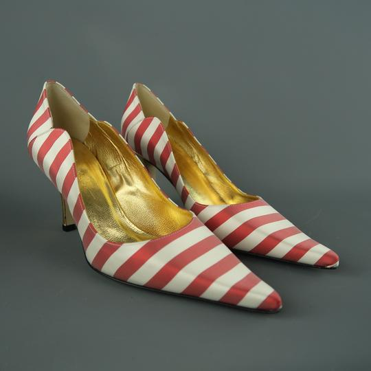 Nicole Miller Striped Satin New With Box Red & White Pumps Image 4