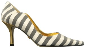 Nicole Miller Striped Satin Metallic New With Box Gray & White Pumps