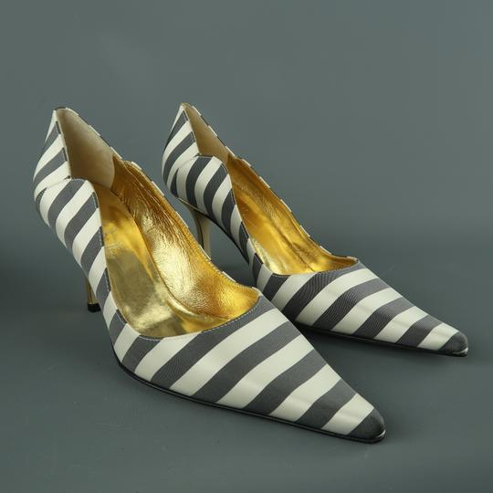 Nicole Miller Striped Satin Metallic New With Box Gray & White Pumps Image 1