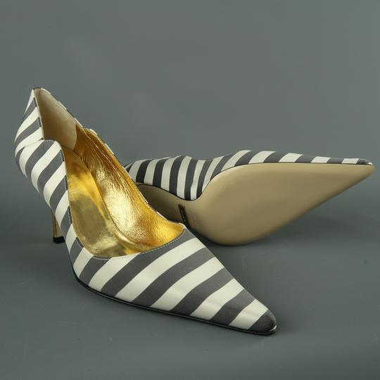 Nicole Miller Striped Satin Metallic New With Box Gray & White Pumps Image 3