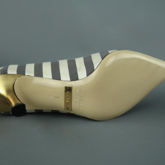 Nicole Miller Striped Satin Metallic New With Box Gray & White Pumps Image 4