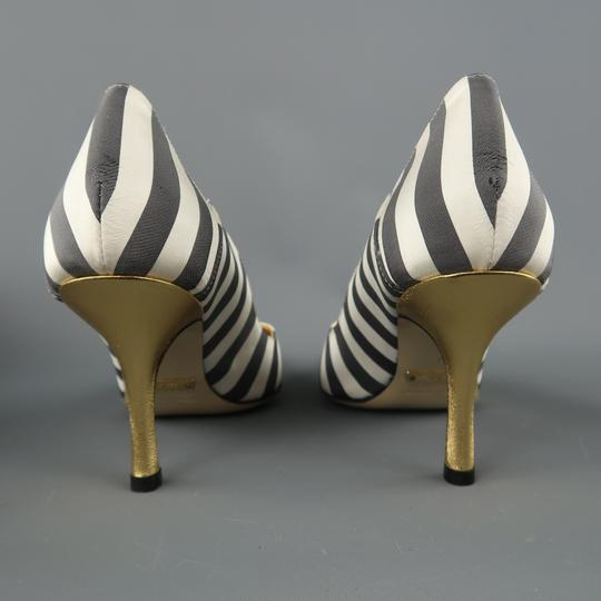 Nicole Miller Striped Satin Metallic New With Box Gray & White Pumps Image 5