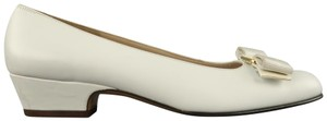 Salvatore Ferragamo Vintage Deadstock New Bow With Box White Pumps