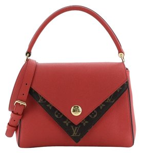 Louis Vuitton Double V Leather Tote in red